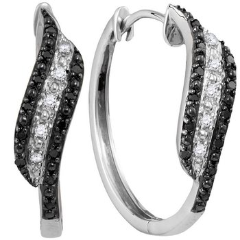 10kt White Gold Womens Round Black Color Enhanced Diamond Hoop Earrings 1/5 Cttw