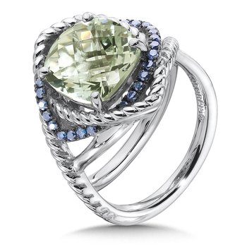 Sterling silver, green amethyst and blue diamond ring