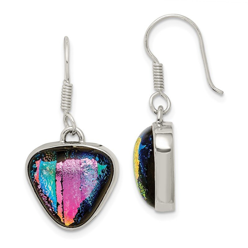 Quality Gold Sterling Silver Multicolor Dichroic Glass Triangle Shaped Dangle Earrings