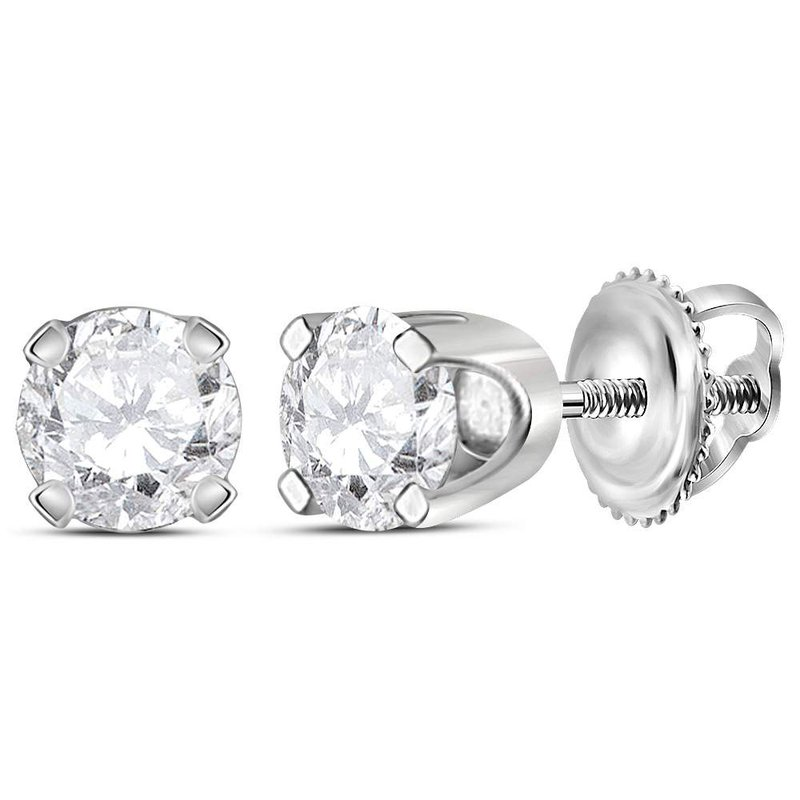 Gold-N-Diamonds 14kt White Gold Unisex Round Diamond Solitaire Stud Earrings 1/2 Cttw