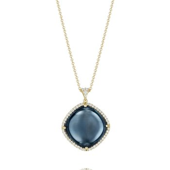 Pavé Cushion Pendant featuring Sky Blue Topaz over Hematite