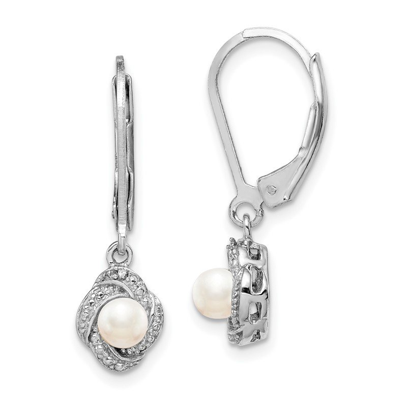 Quality Gold Sterling Silver Rhodium-plated Diam. & FW Cultured Pearl Earrings