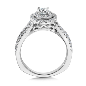 Double Halo Engagement Ring Mounting in 14K White Gold (.47 ct. tw.)