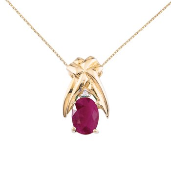 14k Yellow Gold 7x5mm Oval Ruby and Diamond Pendant