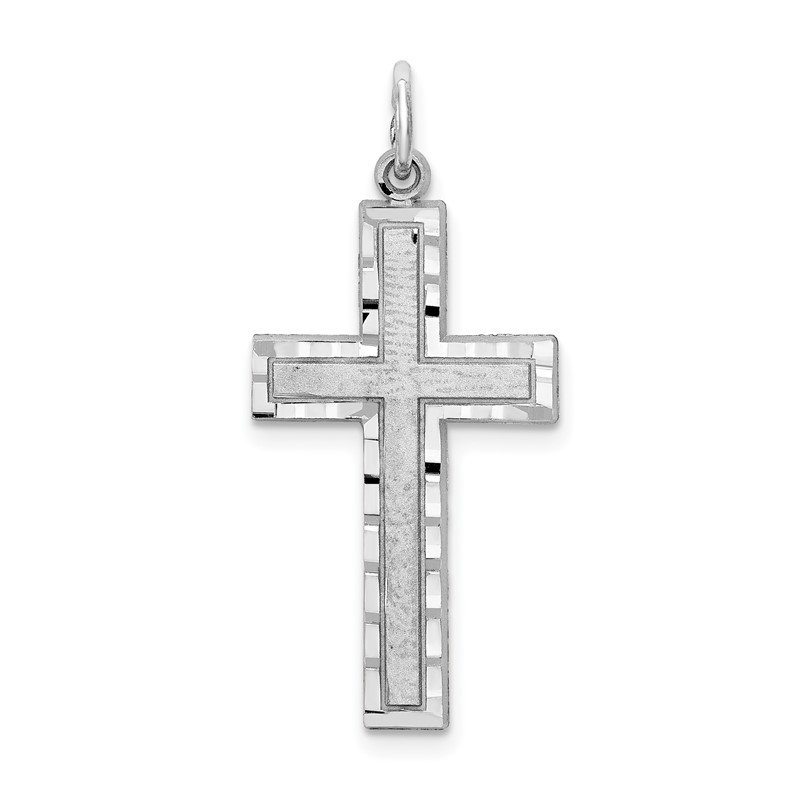 Quality Gold 10K White Gold Cross Charm