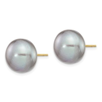 14k 12-13mm Grey Button FW Cultured Pearl Stud Post Earrings