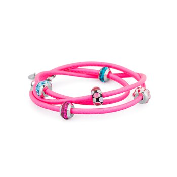 Bracelet. Fluo fuchsia leather with 316L stainless steel elements, coloured glass and coloured Swarovski® Elements crystals