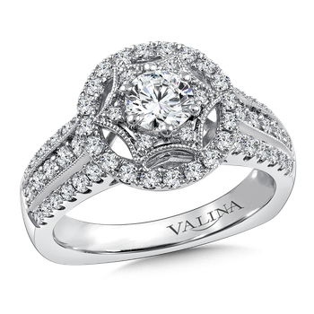 Halo Engagement Ring Mounting in 14K White Gold (0.68 ct. tw.)