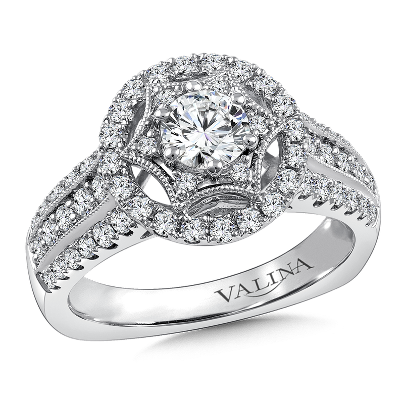 Valina Bridals Halo Engagement Ring Mounting in 14K White Gold (0.68 ct. tw.)