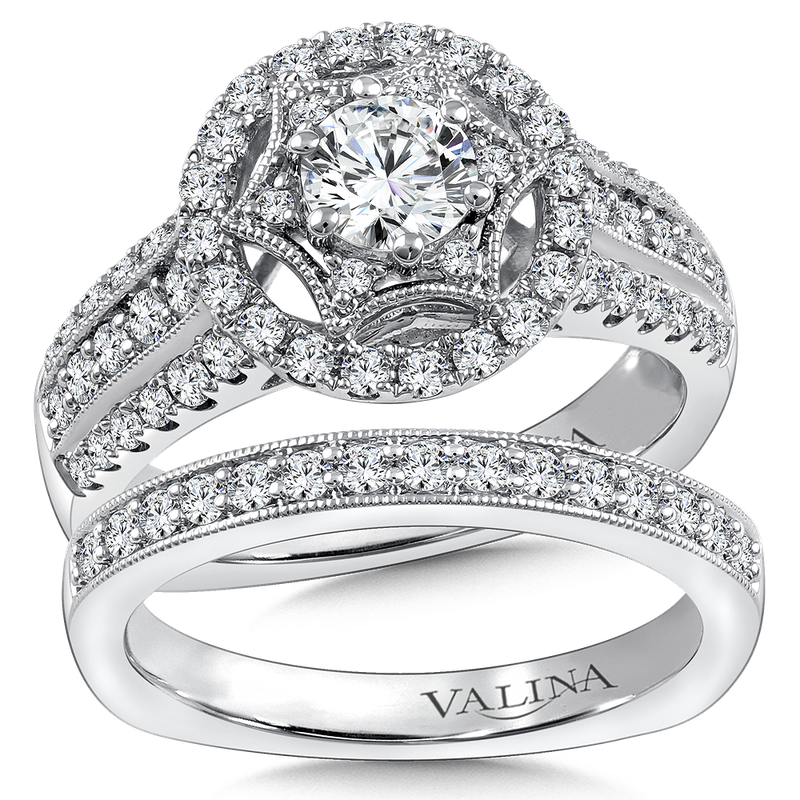 Valina Halo Engagement Ring Mounting in 14K White Gold (0.68 ct. tw.)