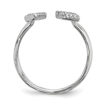 Sterling Silver Rhodium-plated CZ Love Adjustable Ring