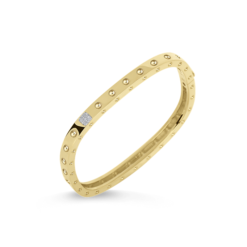 Roberto Coin 1 Row Square Bangle With Diamonds &Ndash; 18K Yellow Gold, P