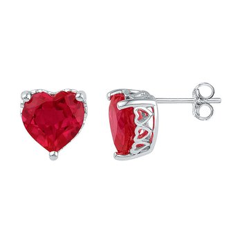 Sterling Silver Womens Heart Lab-Created Ruby Solitaire Heart Stud Earrings 7.00 Cttw