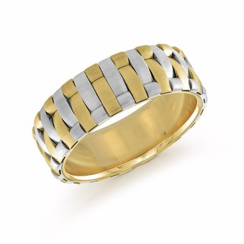 7mm two tone white and yellow gold satin finish interlock band