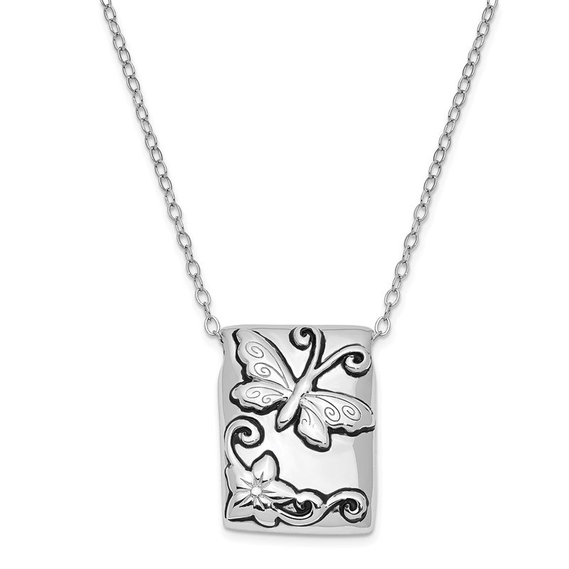 Quality Gold Sterling Silver Antiqued Butterfly Ash Holder 18in. Necklace