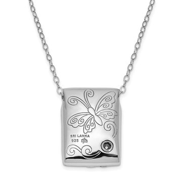 Sterling Silver Antiqued Butterfly Ash Holder 18in. Necklace