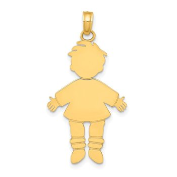 14k Flat Engravable Boy Charm