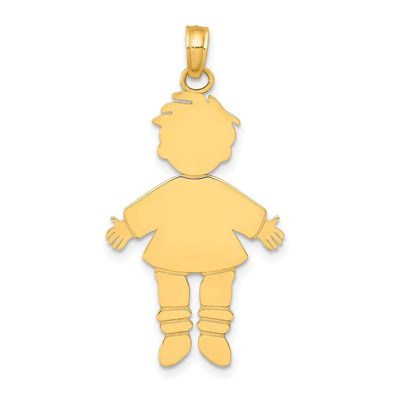 Quality Gold 14k Flat Engravable Boy Charm