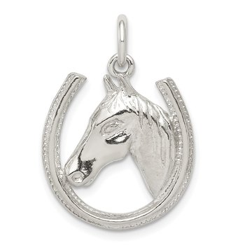 Sterling Silver Horseshoe with Horse Head Pendant