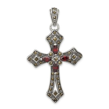 Sterling Silver Antiqued Red Marquise CZ Marcasite Cross Pendant