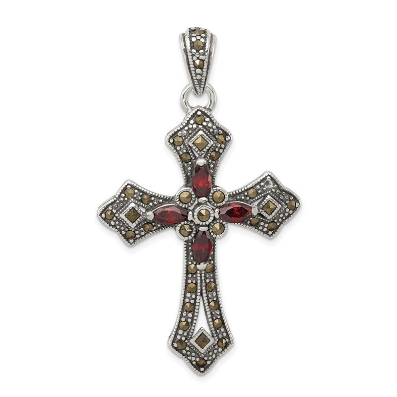 Quality Gold Sterling Silver Red CZ & Marcasite Cross Pendant