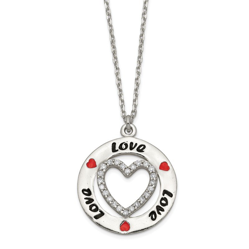 Quality Gold Sterling Silver Polished Enamel CZ Heart Love Necklace