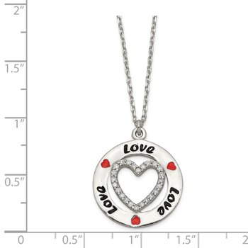 Sterling Silver Polished Enamel CZ Heart Love Necklace