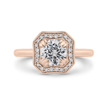 18K Rose Gold Round Diamond Halo Engagement Ring with Euro Shank (Semi-Mount)