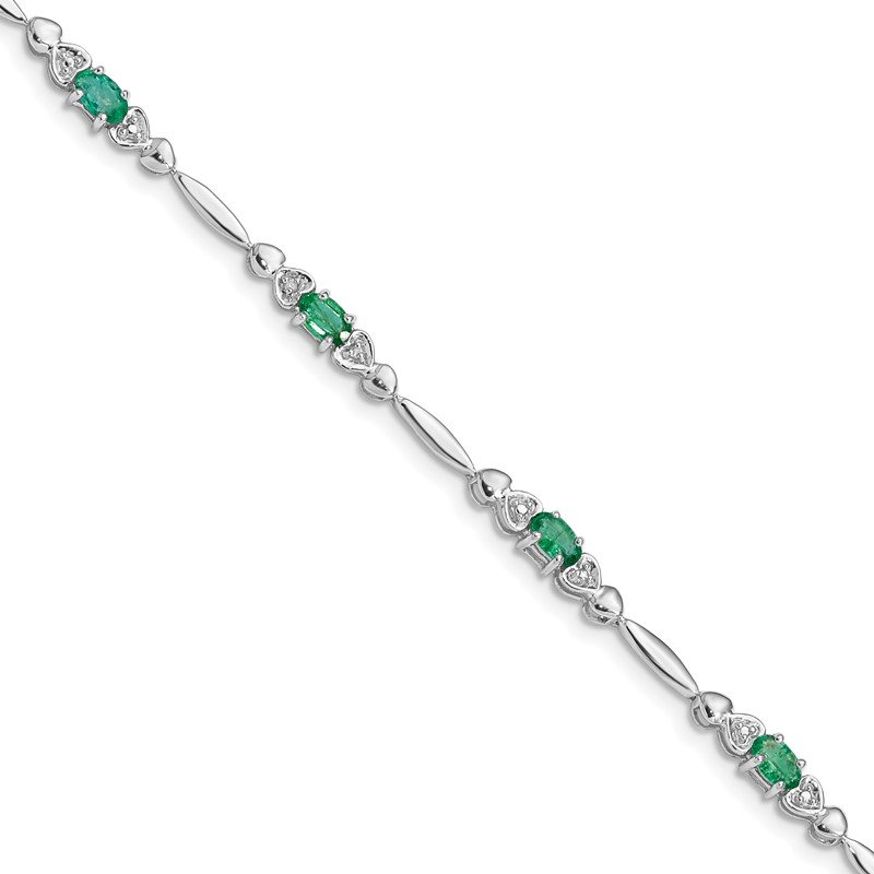 Fine Jewelry by JBD Sterling Silver Rhodium-plated Emerald and Diamond Bracelet