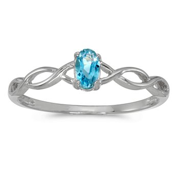 14k White Gold Oval Blue Topaz Ring