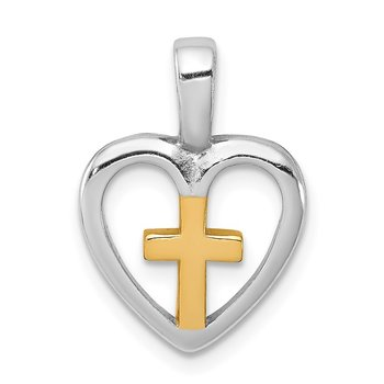 Sterling Silver Rhodium-platedVermeil Cross Heart Pendant