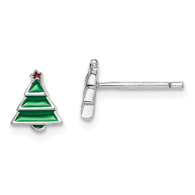 Quality Gold Sterling Silver Rhodium-plated Post Madi K Enameled Christmas Tree Earring