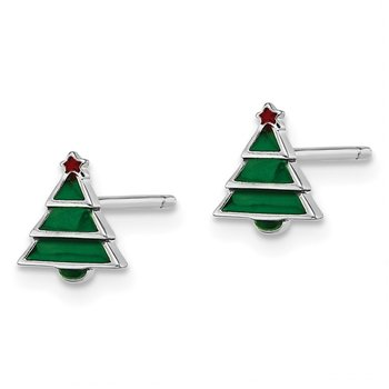 Sterling Silver Rhodium-plated Post Madi K Enameled Christmas Tree Earring