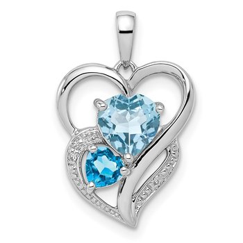 Sterling Silver Rhodium Plated Diamond & Sky Blue Topaz Pendant