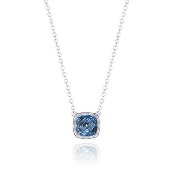Petite Cushion Gem Necklace with London Blue Topaz