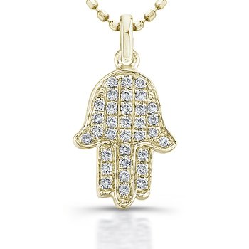 Yellow Gold Piety Mini Hamsa Pendant