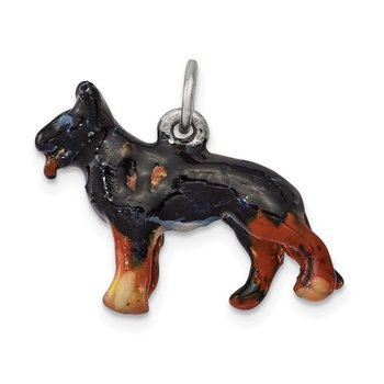 Sterling Silver Enameled Medium German Shepherd Charm