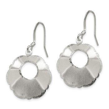 Sterling Silver Polished Satin-finish Fancy D/C Shepherd Hook Earrings