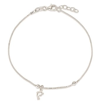 Sterling Silver Box Chain 9in Plus 1in Dolphin Anklet