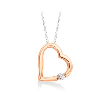 Rose gold & diamond heart pendant