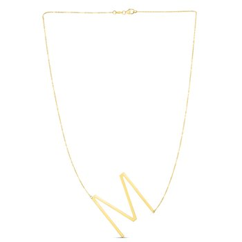 14K Gold Large Initial M Necklace