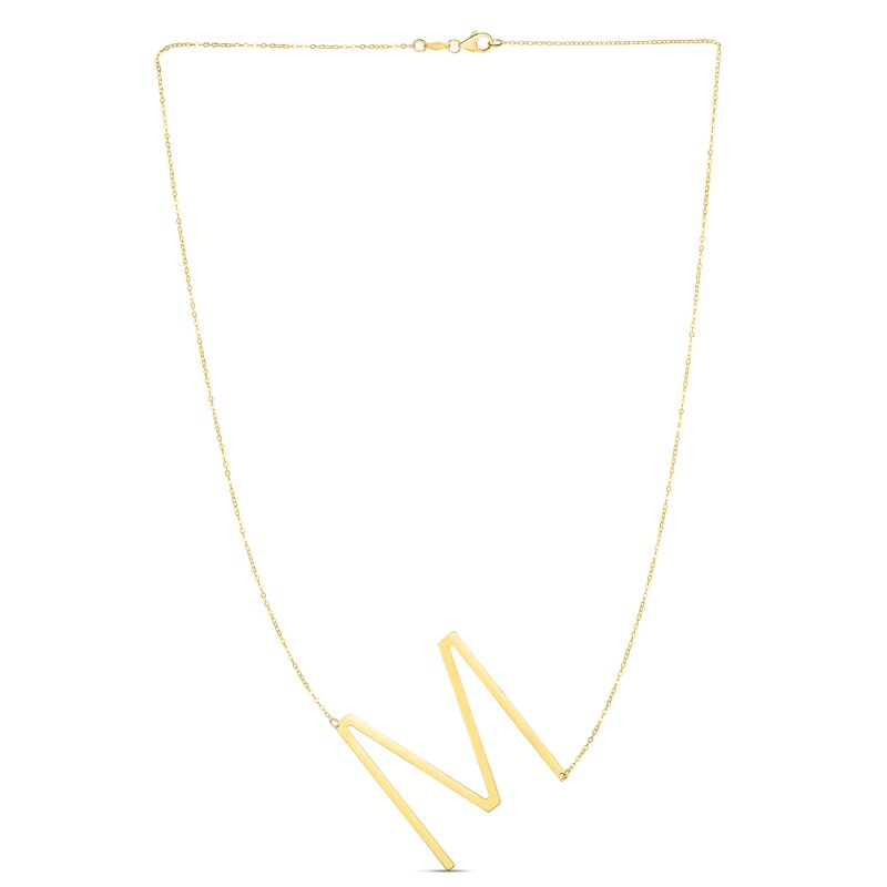 Royal Chain 14K Gold Large Initial M Necklace