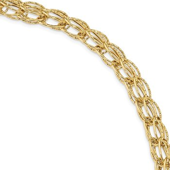 14k Polished and Textured Double Link 7.5 inch Bracelet