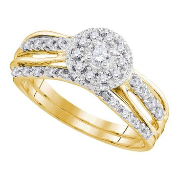 10kt Yellow Gold Womens Round Diamond Halo Bridal Wedding Engagement Ring Band Set 1/3 Cttw