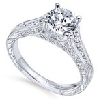 Gabriel Bridal 14k White Gold Diamond Straight Pave Channel and Milgrain Engagement Ring