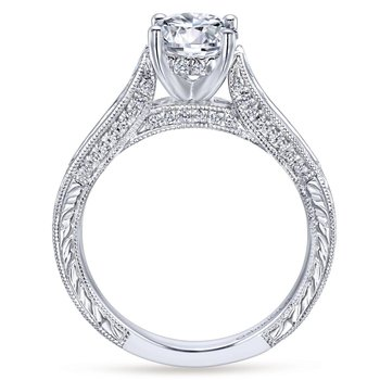 14k White Gold Diamond Straight Pave Channel and Milgrain Engagement Ring