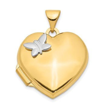 14k Two-Tone 18mm Butterfly Heart Locket