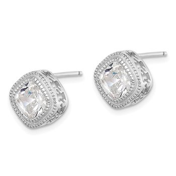 Sterling Silver CZ Square S Border Earrings