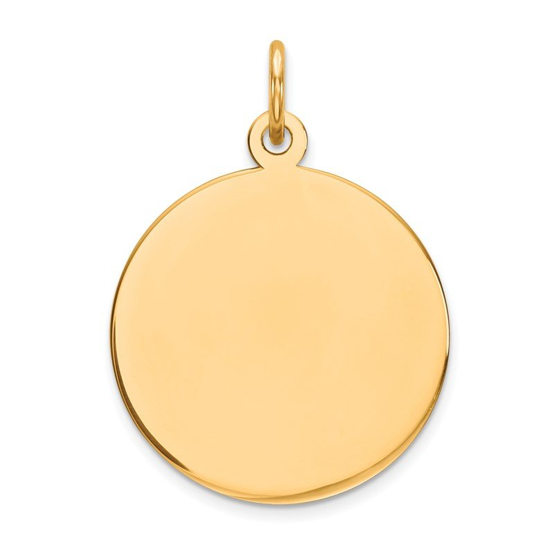 Quality Gold 14k Plain .018 Gauge Circular Engravable Disc Charm