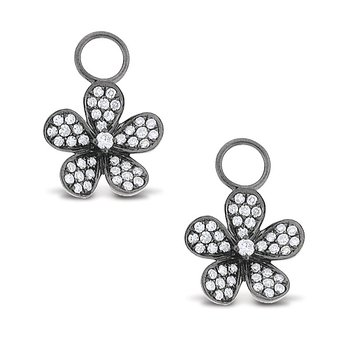 Diamond Small Floral Earring Charms in 14k White Gold with 82 Diamonds weighing .42ct tw.